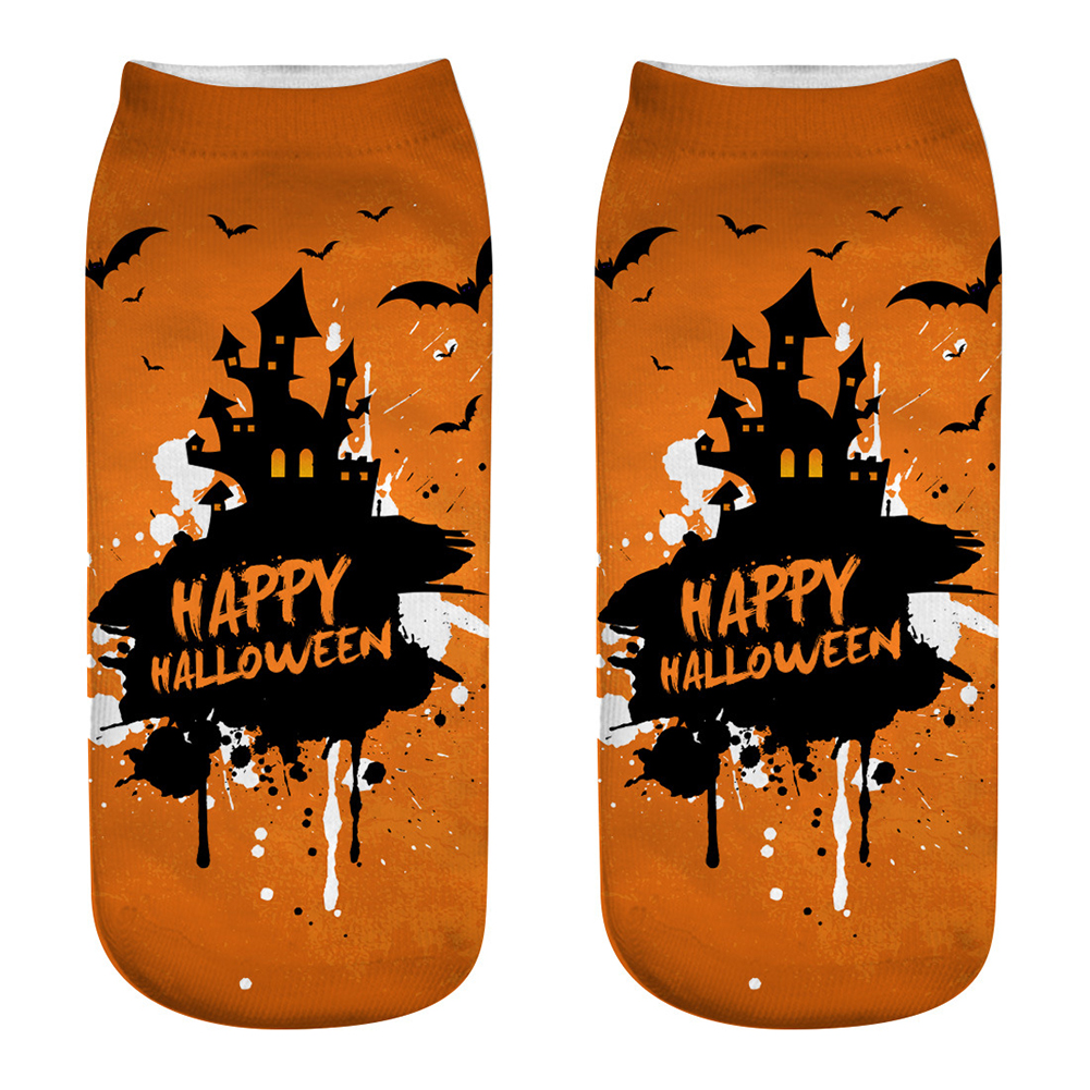 Unisex Cartoon 3D Halloween Element Printing Socks Breathable Sweat-Absorbent Socks   WSJ09_one size
