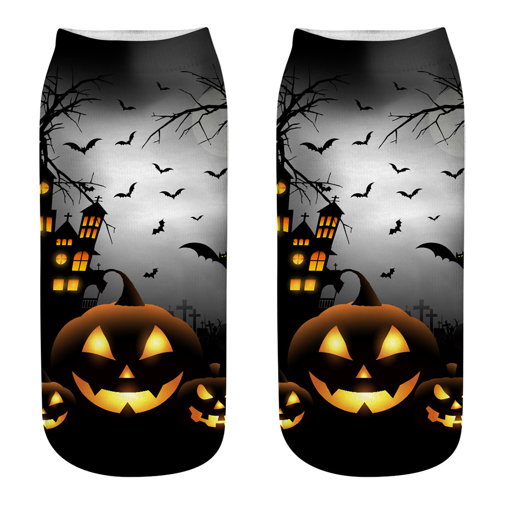 Unisex Cartoon 3D Halloween Element Printing Socks Breathable Sweat-Absorbent Socks   WSJ08_one size