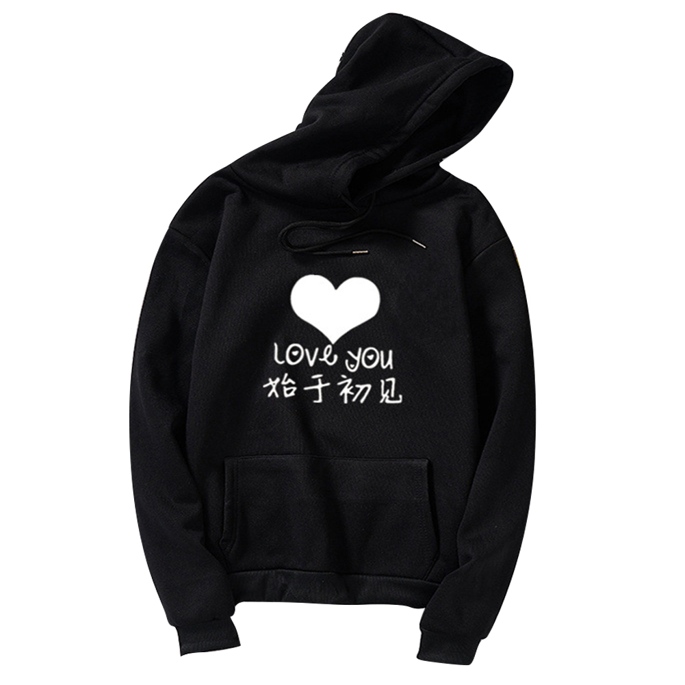 Thicken Casual Loose Printing Hooded Sweatshirts for Students Lovers Wear Black_M
