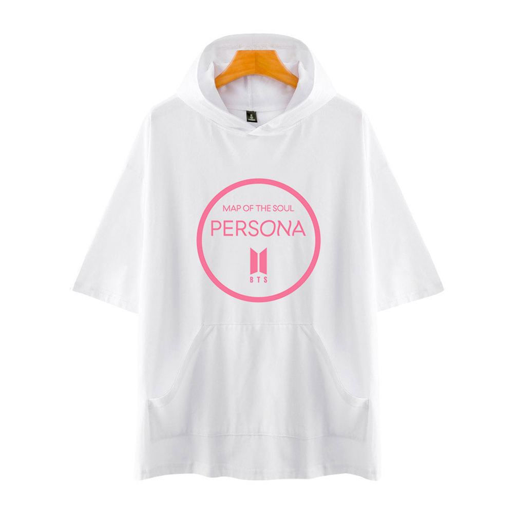 Men Fashion Hooded Shirts Short Sleeve Pattern Casual Tops White A_M