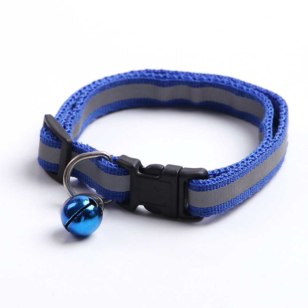 Adjustable Pet Nylon Collar Reflective Stripe with Bell for Dog Cats Blue_1.0
