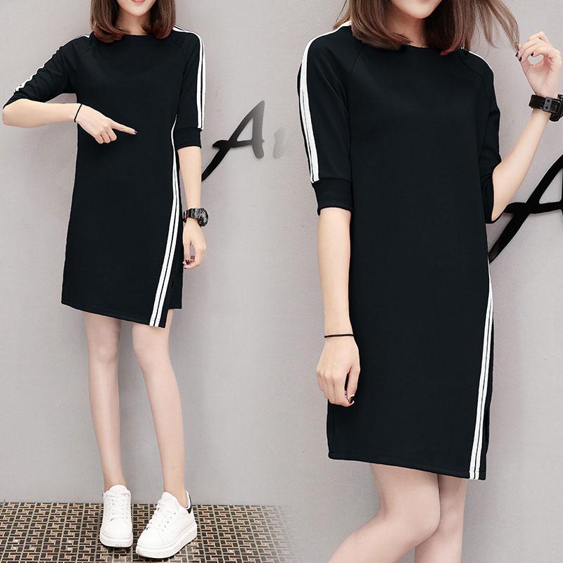 Women Casual Summer Half-length Sleeves Casual Asymmetric Long Dress black_L