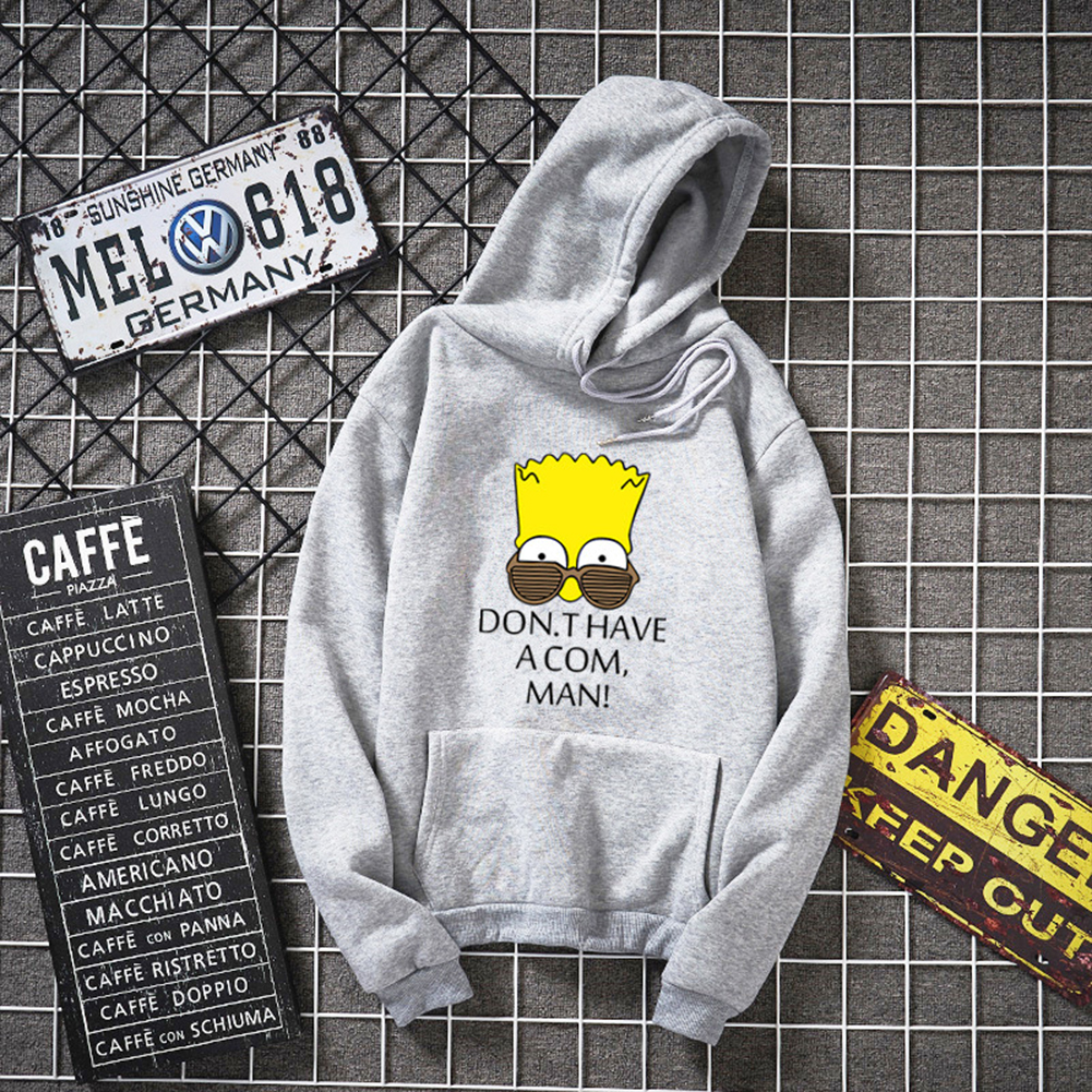 Women Men Lovers Hooded Cartoon Simpson Pattern Hooded Sweatshirt gray_M