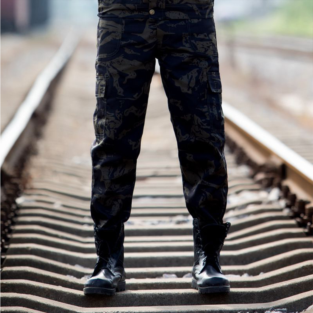 Unisex Special Training Camouflage High Strength Pants Wear Resistant Casual Trousers Black  camouflage_175=L