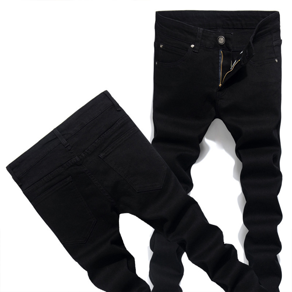 Men Solid Color Fashion Slim Type Jeans Pencil Pants black_33