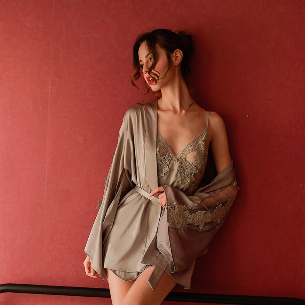 Woman Sexy Uniform Lace Brim Sexy See-through Underwear Nightdress gray