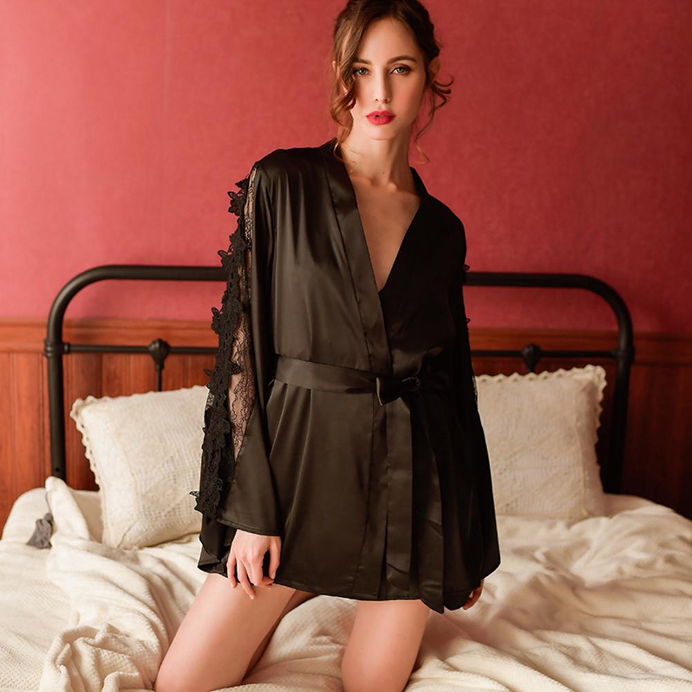 Woman Sexy Uniform Lace Brim Sexy See-through Underwear Nightdress black