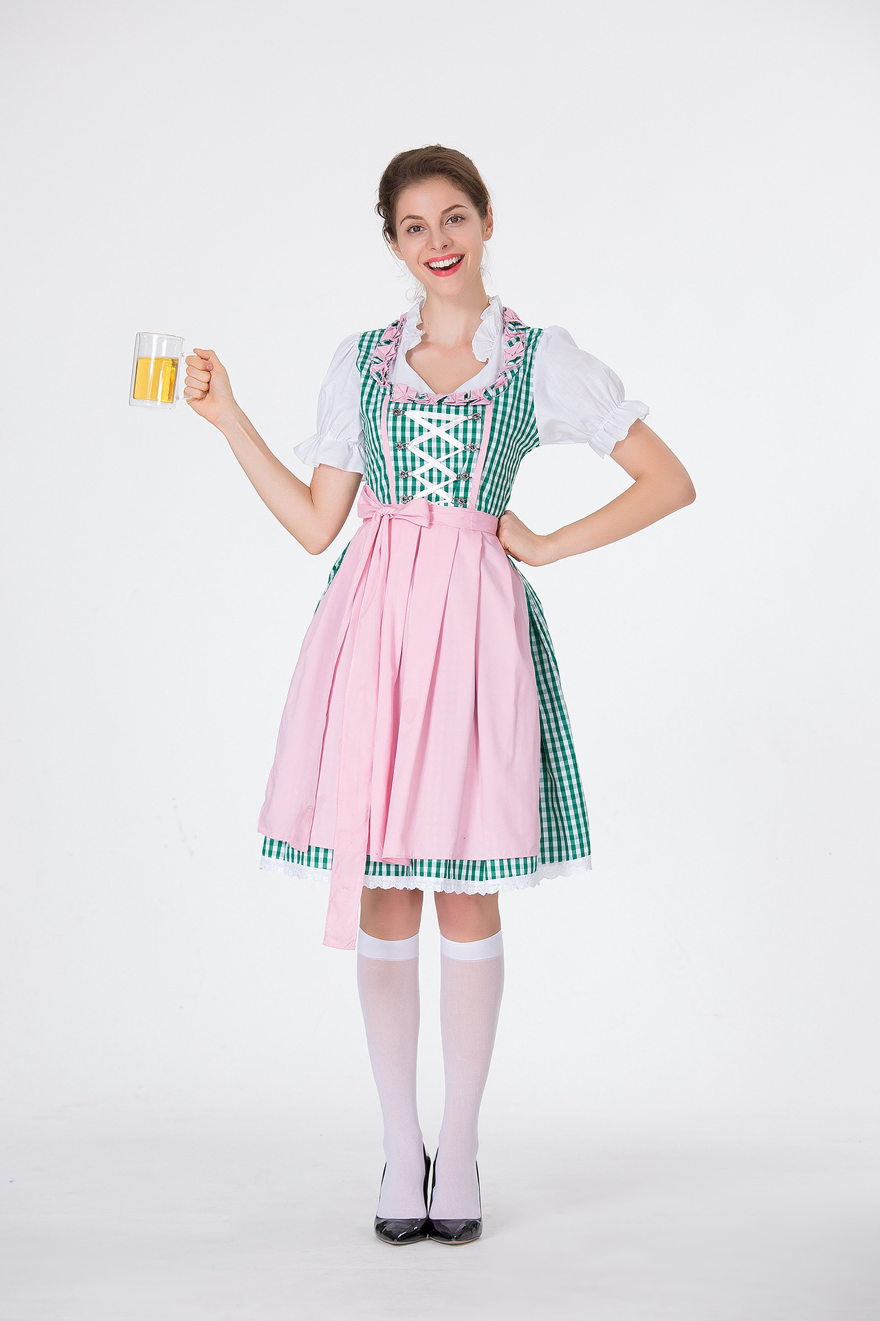 Women Oktoberfest Costume Large Size Dirndl Dress Adult Retro Lady Dress for Hallowmas green_M