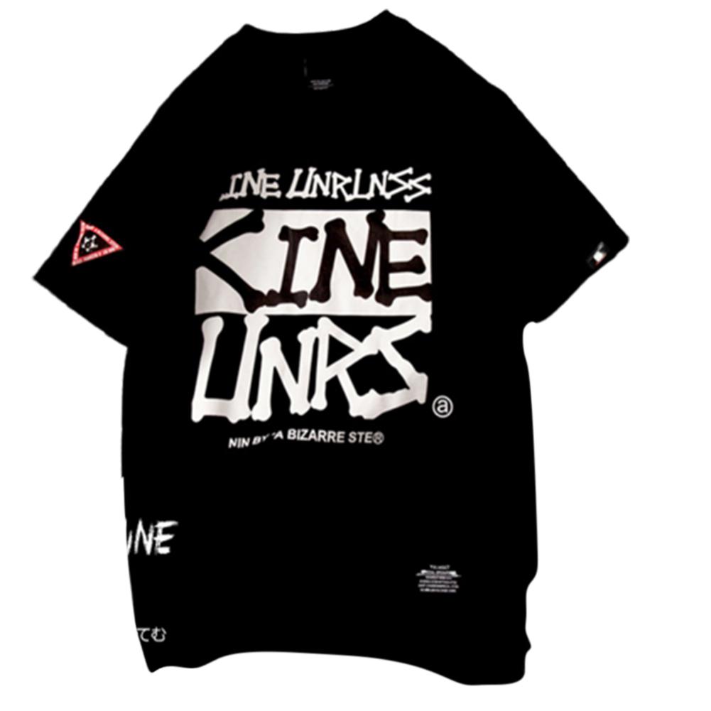 Men Women Large Size Loose Round Collar Printing Short Sleeve T Shirt black_M