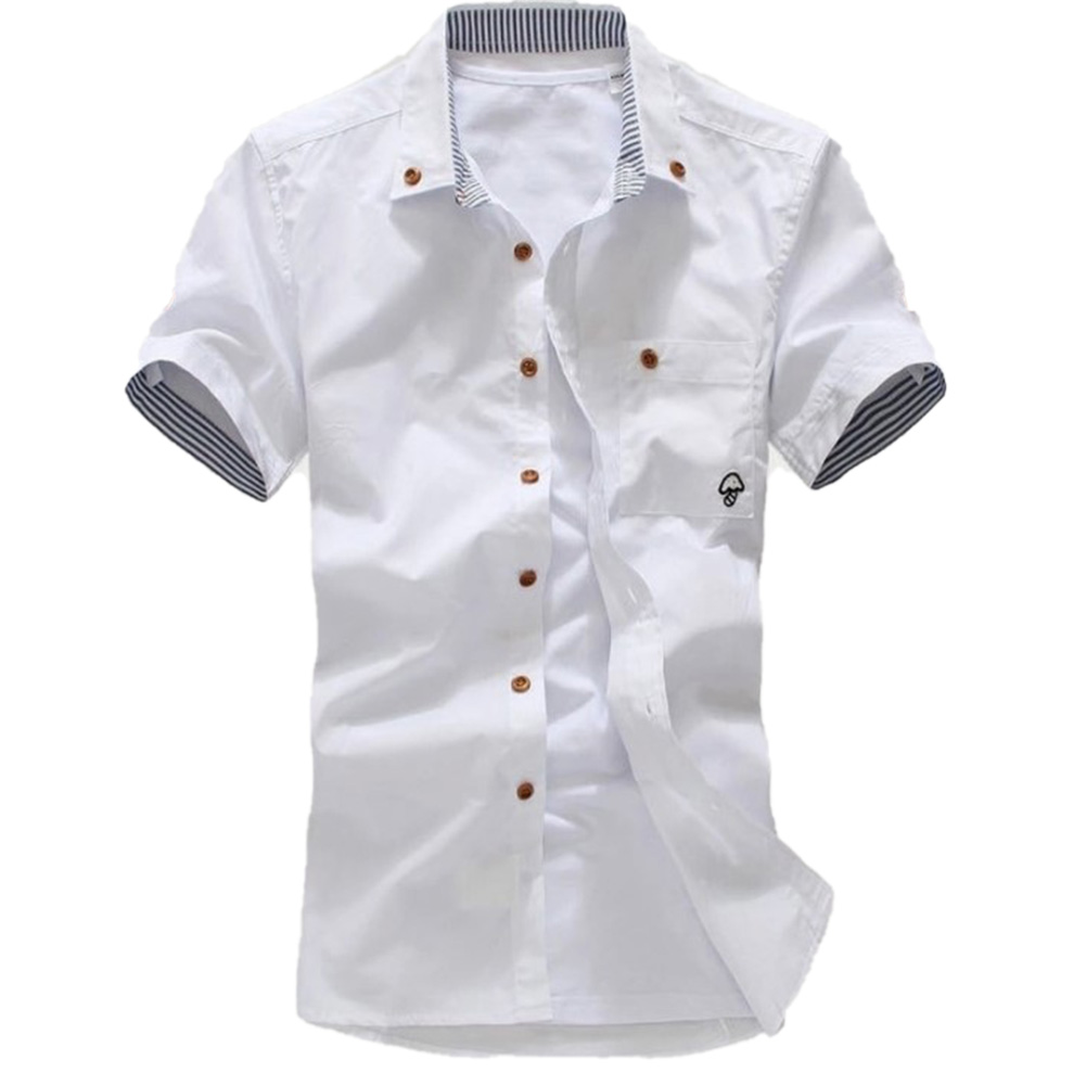 Short Sleeves Shirt Single-breasted Top with Pocket Leisure Cardigan for Man white_L