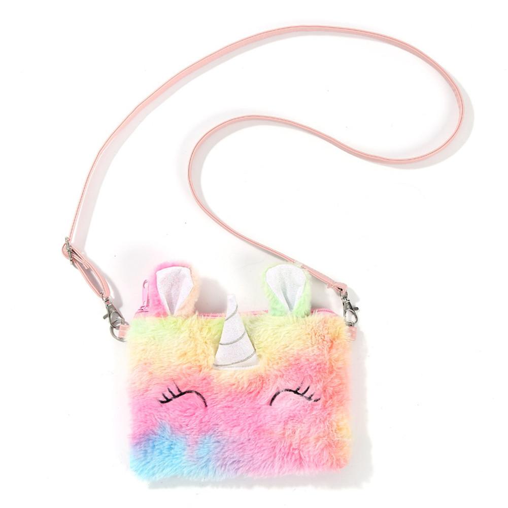 Cute Children Shoulder Bag Cartoon Plush Soft Autumn Winter Fashion Cute Horse Fluffy Handbag color