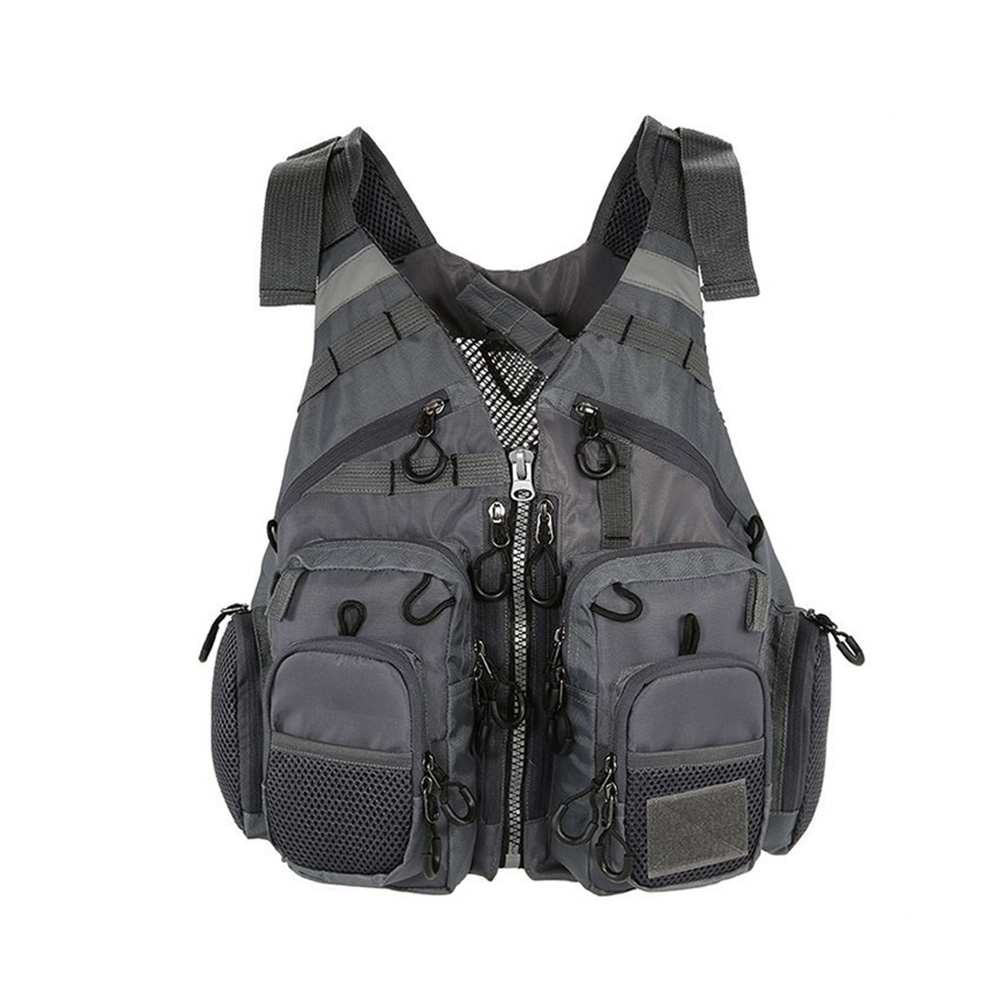 Breathable Polyester Mesh Design Fishing Vest Fishing Safety Life Jacket for Swimming Sailing gray