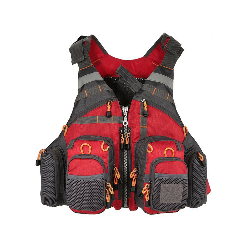 Breathable Polyester Mesh Design Fishing Vest Fishing Safety Life Jacket for Swimming Sailing red