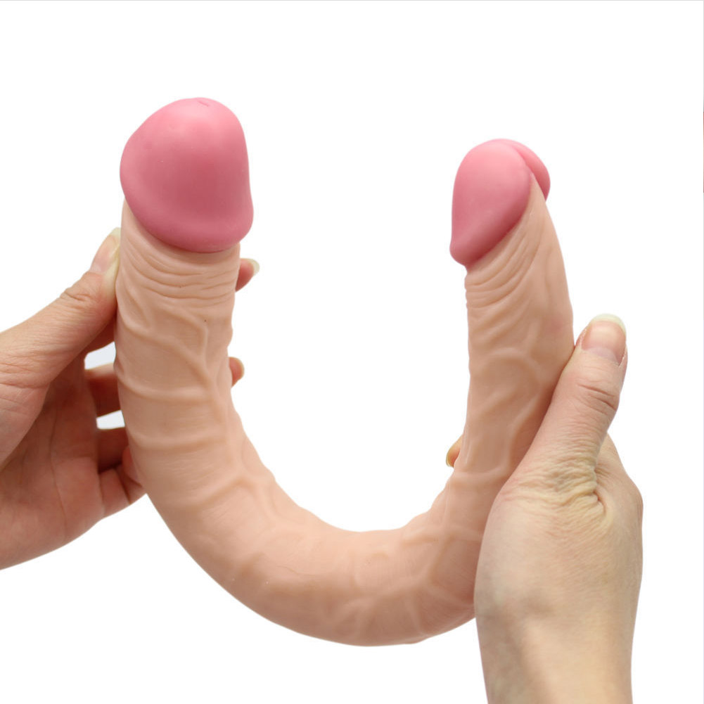 Double Sided Ended Headed Dildo Penetration Dildo for Lesbians Sex Toy Flesh color