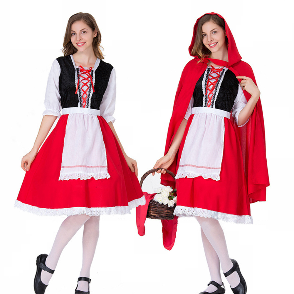 Woman Large Size Beer Festival Hollow Lace Dress Halloween Party Special Festival Costume Uniform red_XL