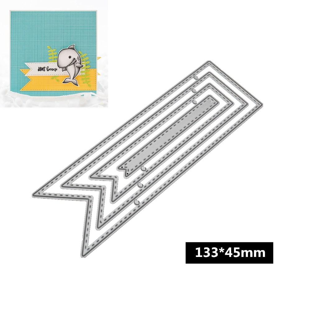 DIY Ribbon Shape Pattern Carbon Steel Cutting Dies for Scrapbook Decor 133*45mm