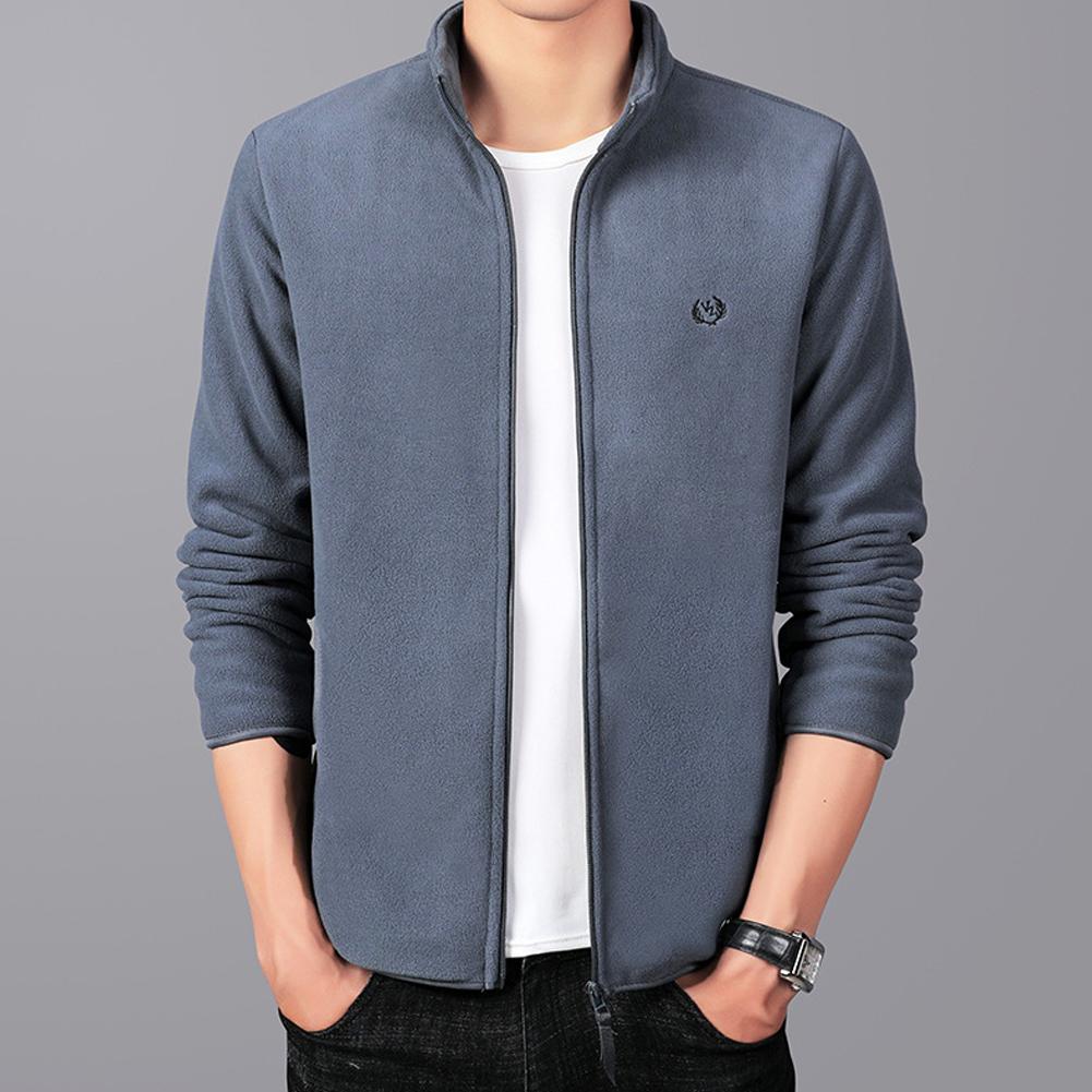 Men Autumn Winter Casual Stand-up Collar Cotton Blend Jacket Coat Top gray_L