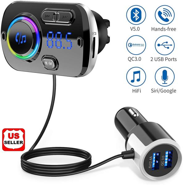 Hands-free Bluetooth Fm Transmitter Wireless Radio Adapter Car Kit Mp3  Player black