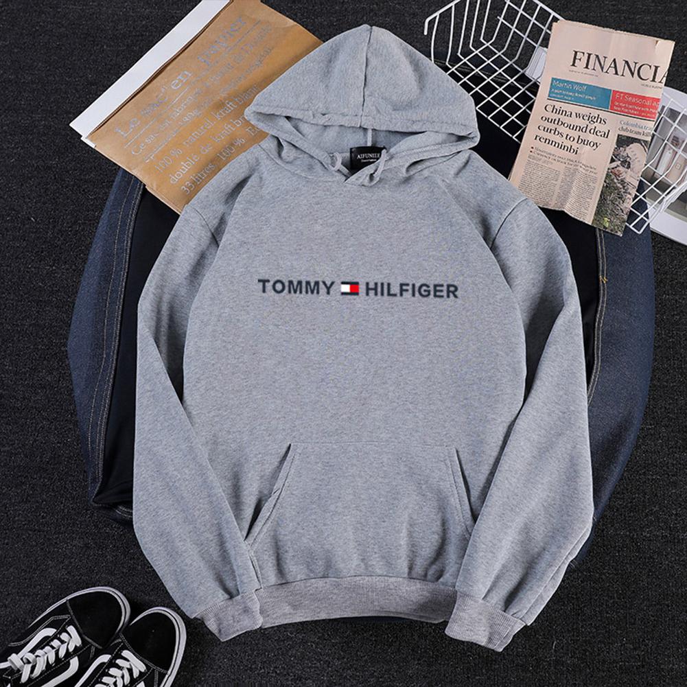 Men Women Hoodie Sweatshirt Printing Letters Thicken Velvet Loose Fashion Pullover Gray_XXL