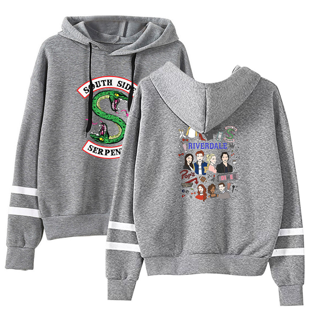 Men Women American Drama Riverdale Fleece Lined Thickening Hooded Sweater Gray E_L