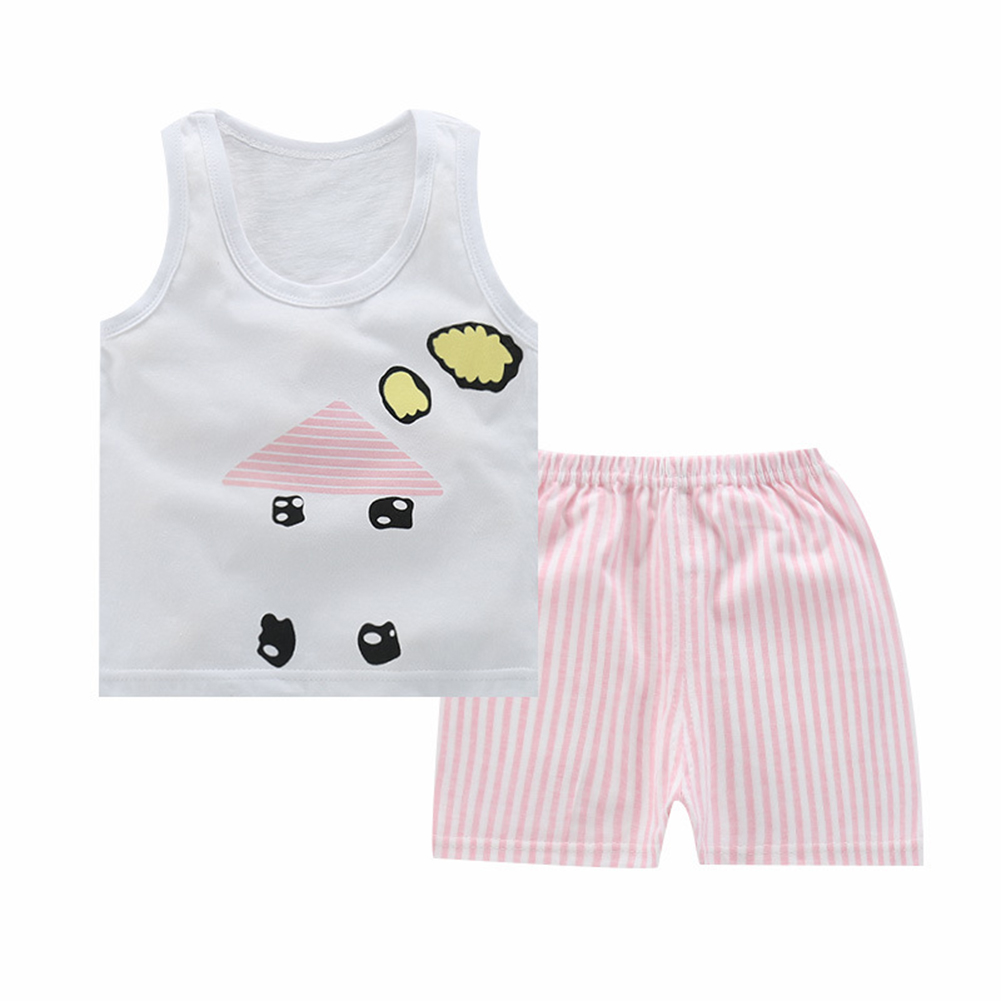 Unisex Children Vest Suit Sleeveless Tops+Pants Cute Cartoon Pattern Clothes Vest - small house_65 # (90-100cm recommended)
