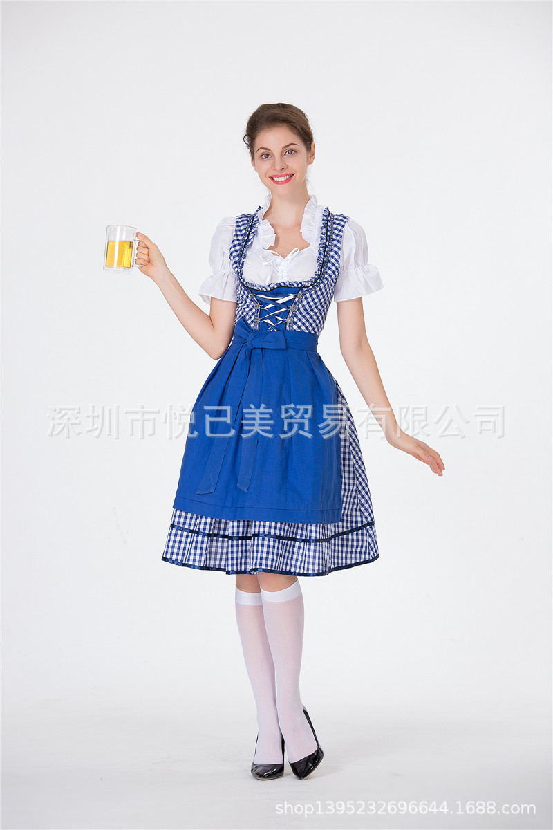 Women Oktoberfest Dirndl Plaid Pattern Maid Cosplay Dress Costume for Hallowmas blue_S
