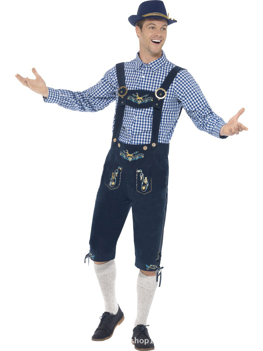 Men Oktoberfest Style Costume Suit Bavarian Style Halloween Costume Dark blue_M