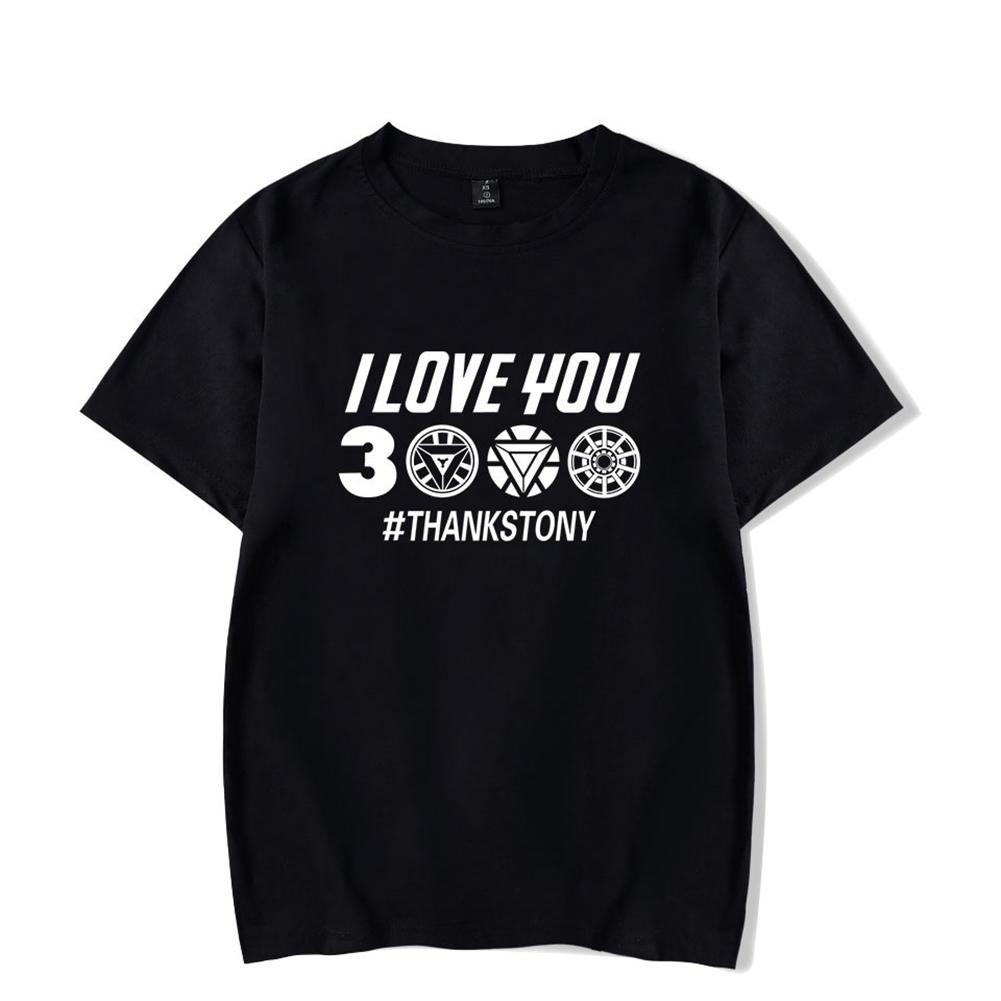 Men Women Summer I Love You 3000 Letters Printed Casual Round Collar Fashion T-shirt