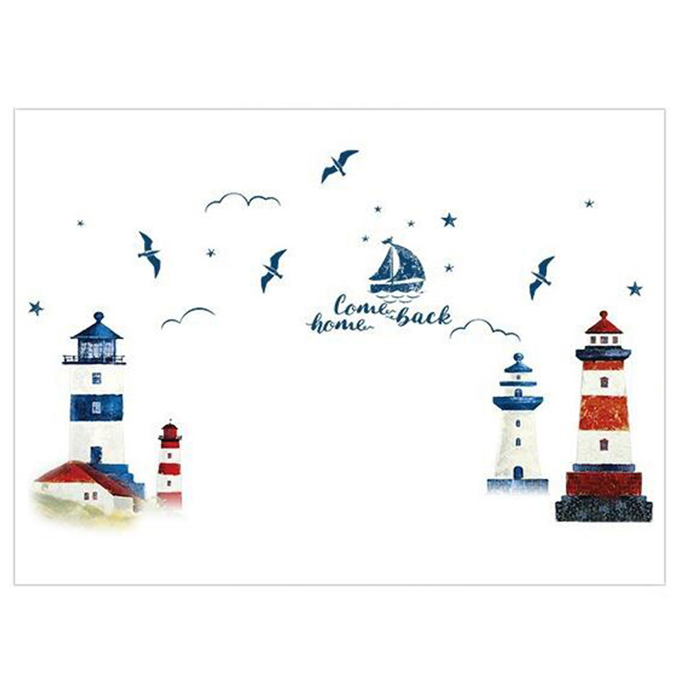 Sea Sailboat Lighthouse Wall Stickers Background Decoration Bedroom Living Room Wallpaper Art Decals Sticker 60 * 90cm