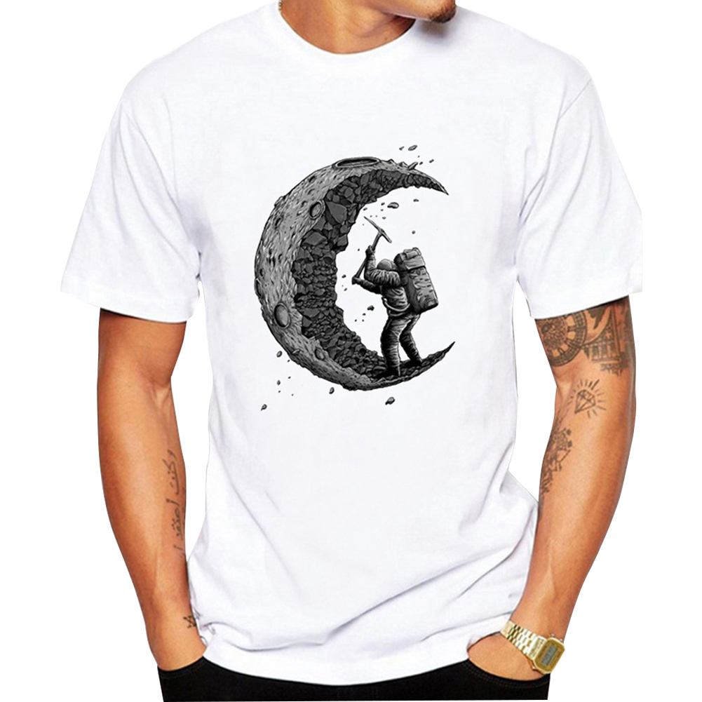Men Cartoon Digging Moon Printing Loose T-shirt men_XL