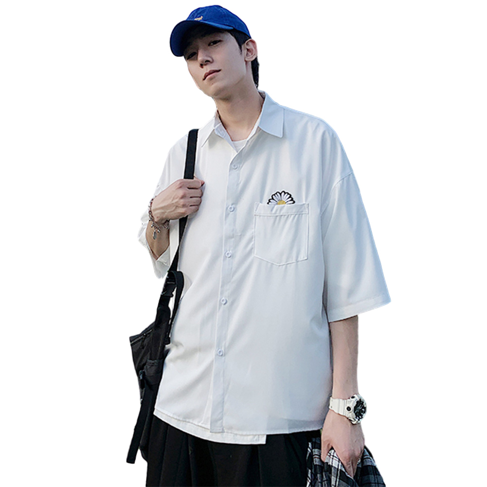 Men Short Sleeve Shirt Summer Thin Fashion Loose Daisy Pattern Tops White_M