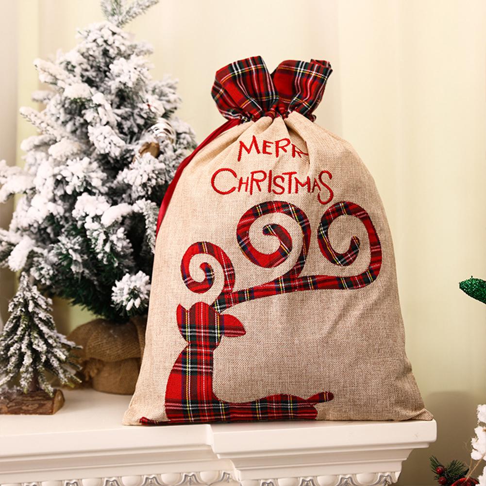 Linen Christmas Candy Gift  Bag Tote Bag Plaid Side Drawstring Pocket Gift For Children Elk