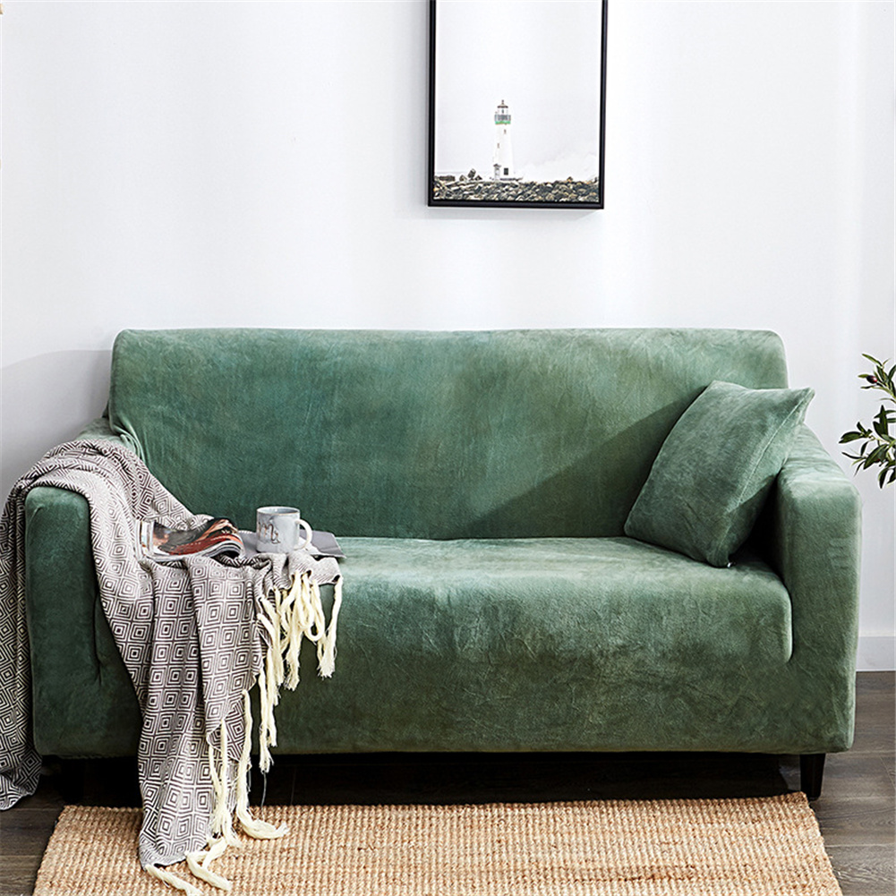 Plush Stretch Sofa Covers Stylish Furniture Cushions Sofa Slipcovers Winter Cover Protector  blue_Double 145-185cm