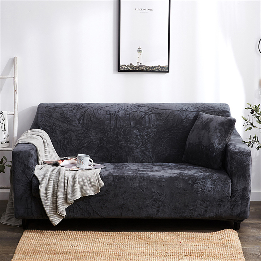 Plush Stretch Sofa Covers Stylish Furniture Cushions Sofa Slipcovers Winter Cover Protector  Dark gray_Double 145-185cm