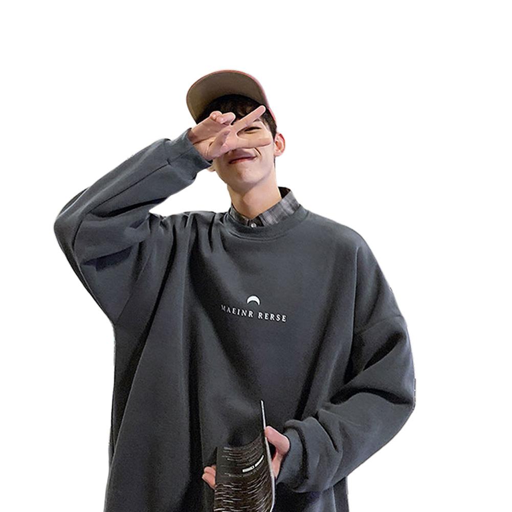 Men Women Crew Neck Sweatshirt Moon Letter Printing Solid Color Loose Fashion Pullover Tops Dark gray_XL