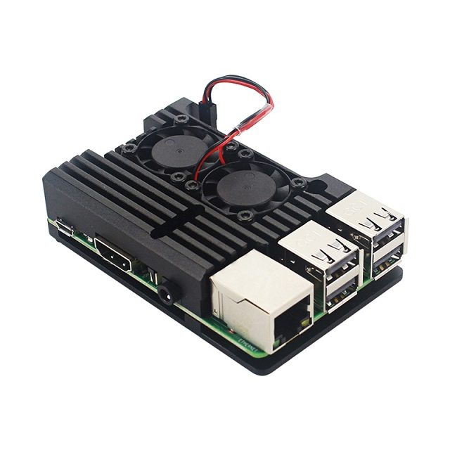 For Raspberry Pi 4 Aluminum Metal Case Box with Dual Fan Heat Sink