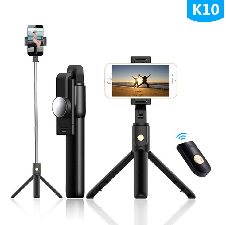 Selfie Stick Tripod Stand Holder Extendable with Bluetooth Remote 360°Rotatable Phone Holder K10 with mirror