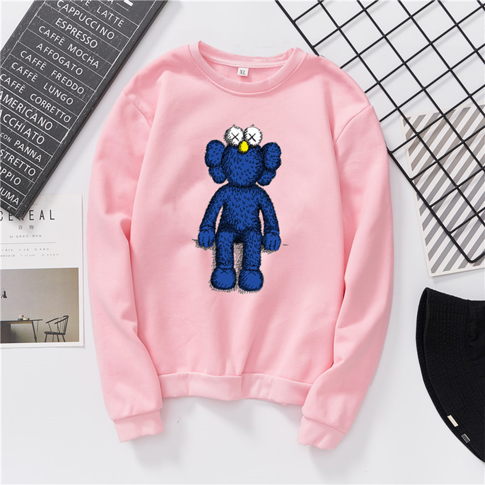Men Women Fashion Cartoon Long Sleeve Fleece Round Collar Sweatshirts Pink_L