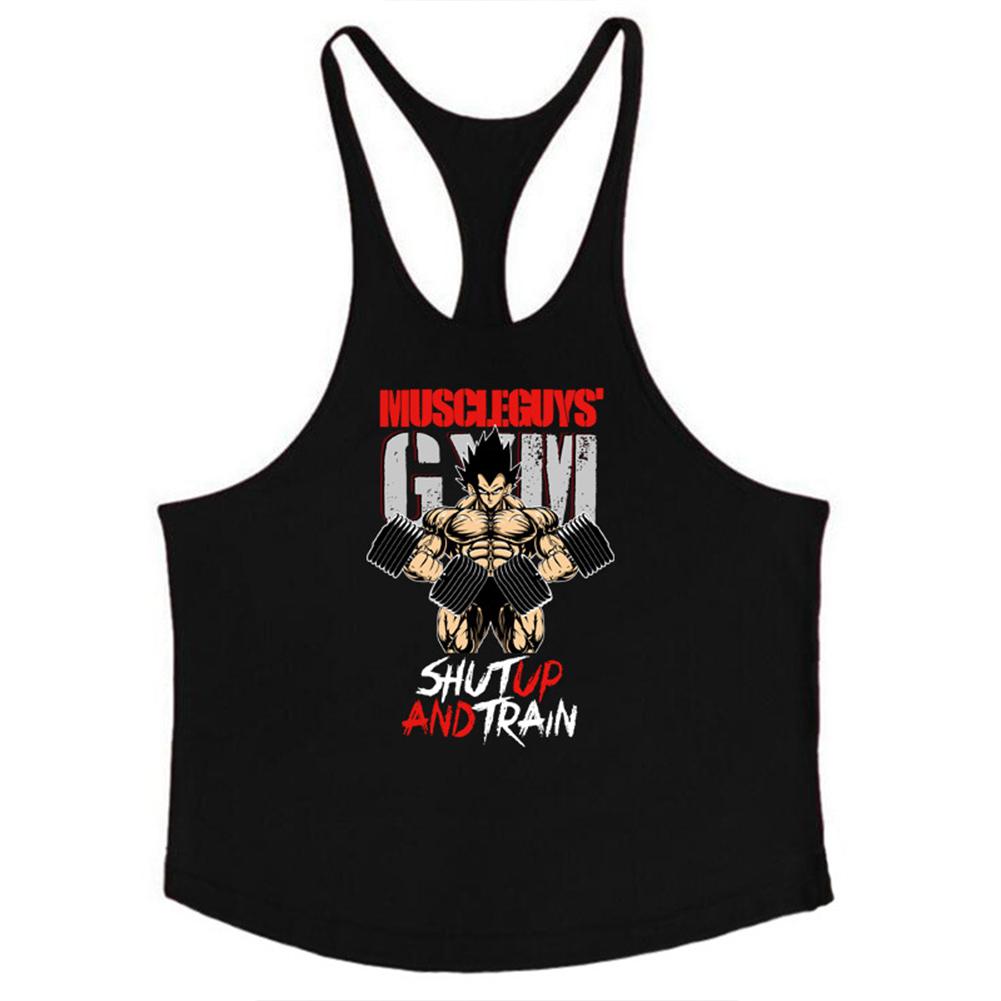 Men Muscle Bodybuilding Shirt Breathable Fitness Sport Vest black_L