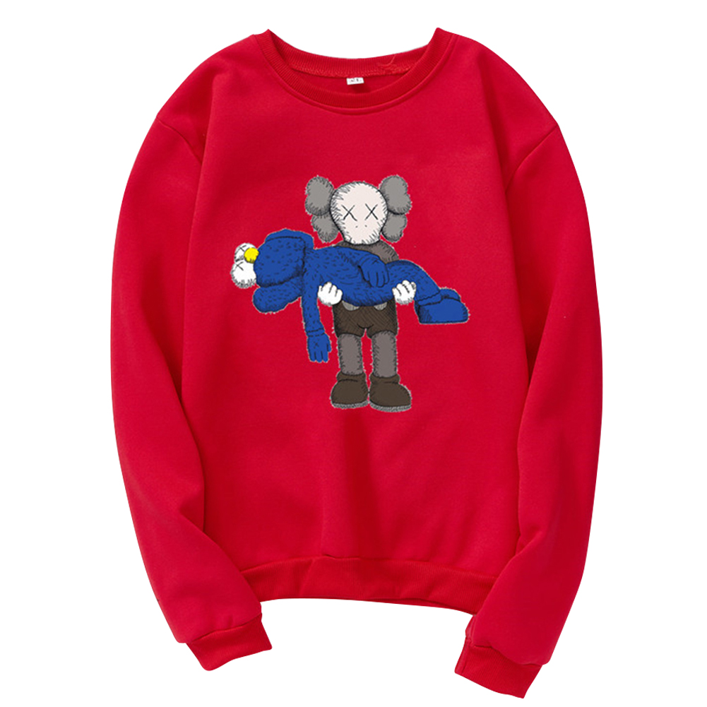 Men Women Loose Cute Cartoon Printing Round Collar Fleece Sweatshirts red_L