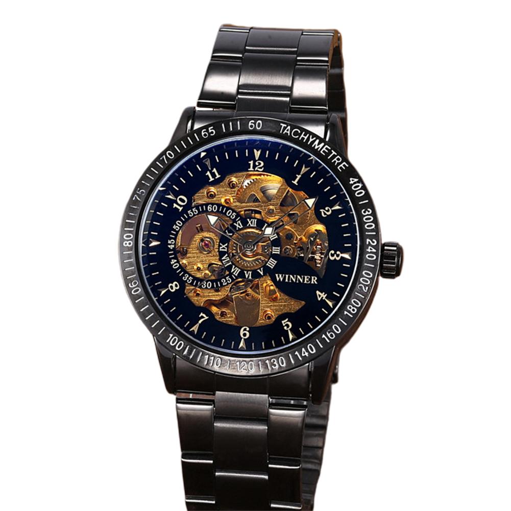 Winner Man Auto Mechanical Watch Multi Skeleton Dial Stainless Steel Watchband Wristwatch 7