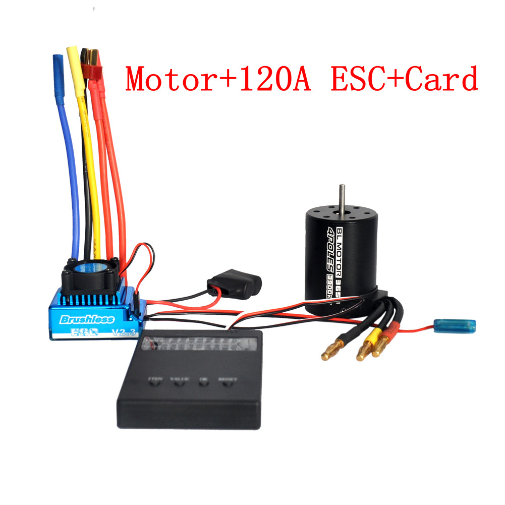 3650 3900KV Brushless Motor & Waterproof 45A 60A 80A 120A Brushless ESC with Program Car Combo for 1/8 1/10 1/12 RC Car RC Boat Part 120A ESC combination