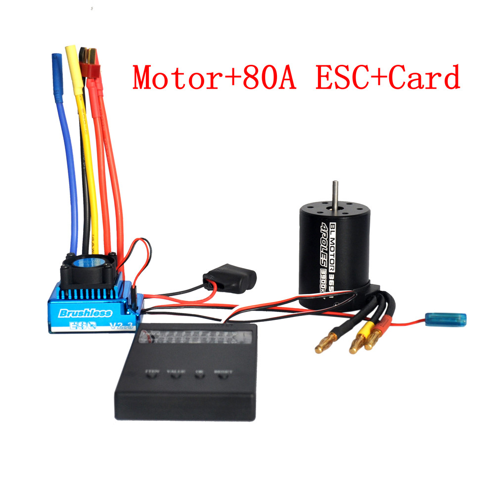 3650 3900KV Brushless Motor & Waterproof 45A 60A 80A 120A Brushless ESC with Program Car Combo for 1/8 1/10 1/12 RC Car RC Boat Part 80A ESC combination
