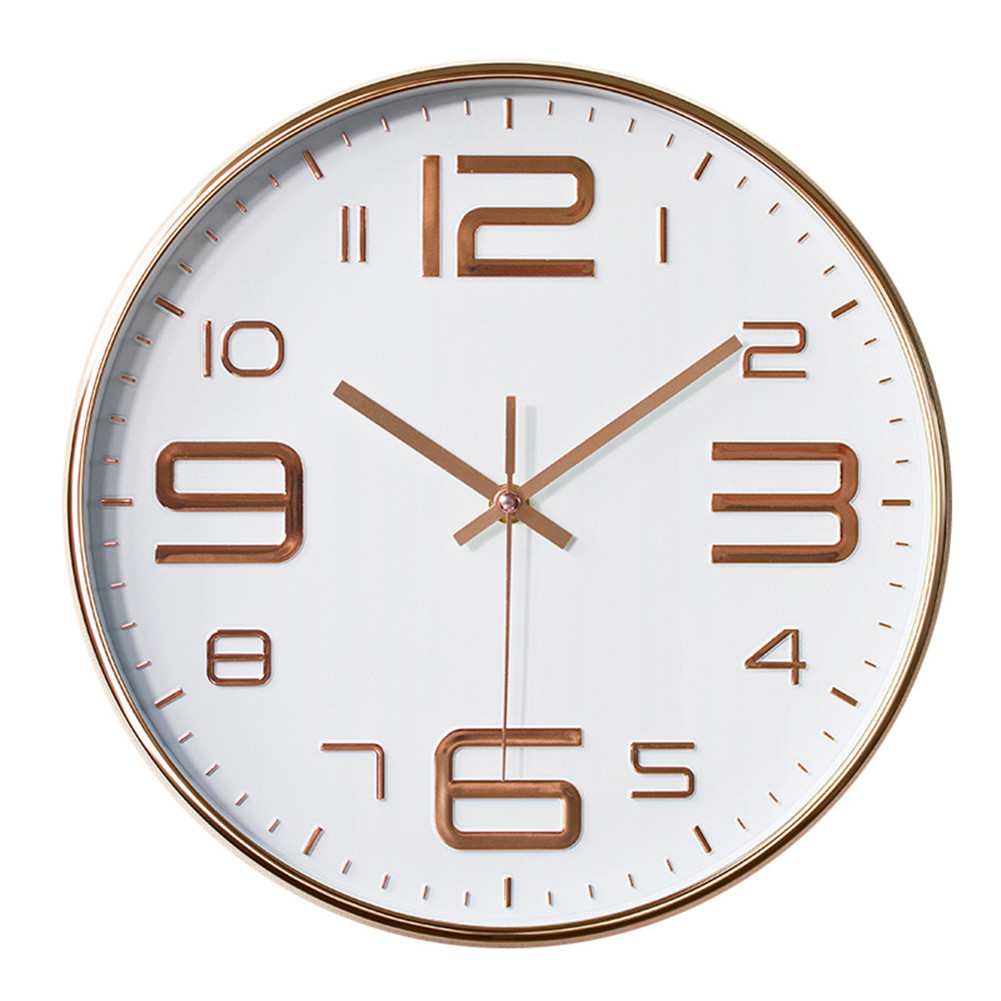12inch Round Wall Clock Bedroom Kitchen Quartz Silent Sweep  Movement Clocks Rose gold on white