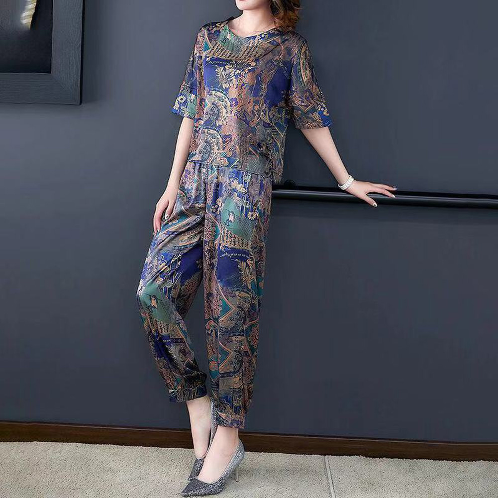 Fashion Middle-aged Printing Large Size Two-piece Set Female Clothing Sets gray_XL