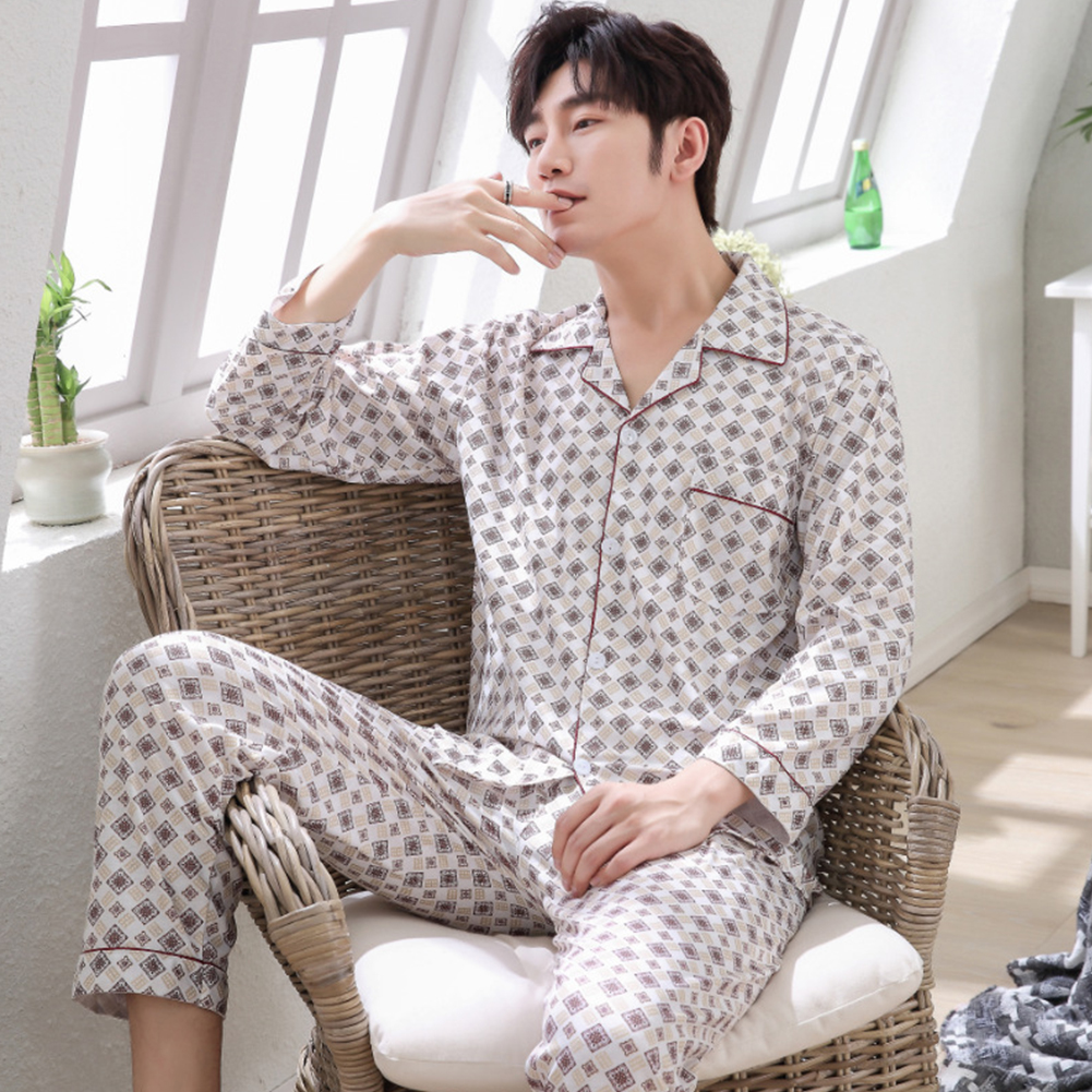 Men Spring and Autumn Cotton Long Sleeve Casual Breathable Home Wear Set Pajamas 8852 red_XL