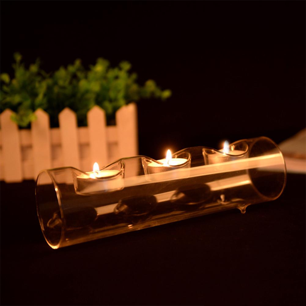Stylish Crystal-like Glass Tube-shape Candle Holder Romantic Candlestick Home Cafe Wedding Candlelight Dinner Decoration Three holes