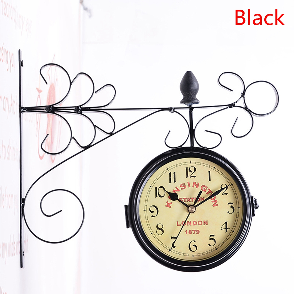 Double-Side Wall Mount Clock with Mute Movement Home Office Hotel Decoration Gift  28*9*24cm