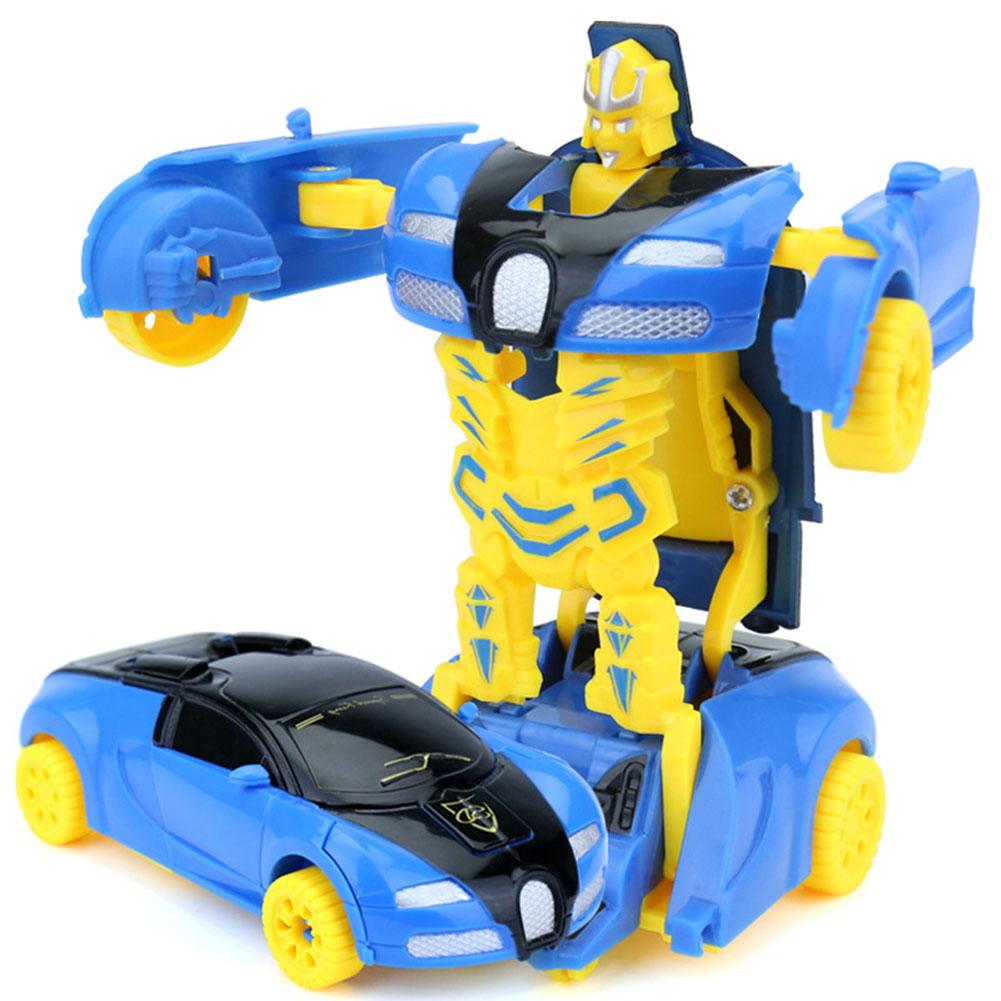[Indonesia Direct] Mini Cartoon Deformation Car Inertial Transformation Robots Toys for Children