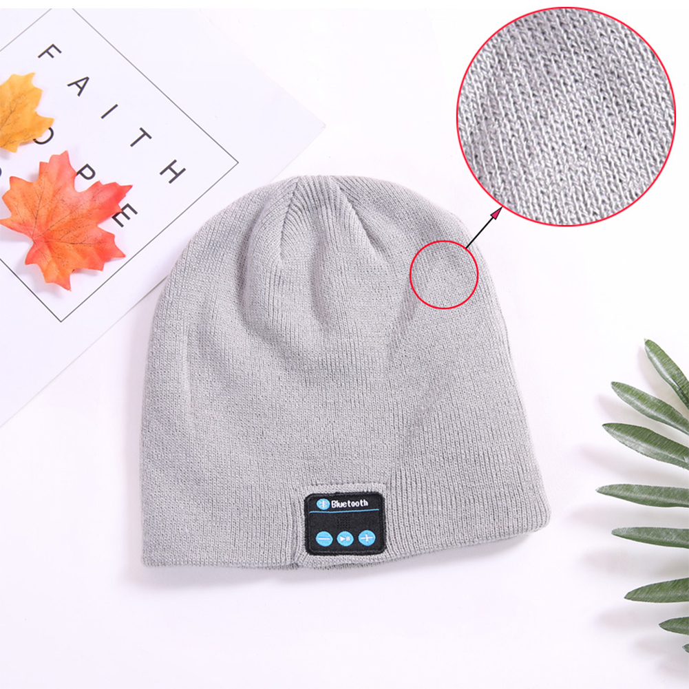 Wireless Bluetooth Smart Earphone Music Knitted Hat Winter Warm Cap with Mic Speaker for iOS Android gray